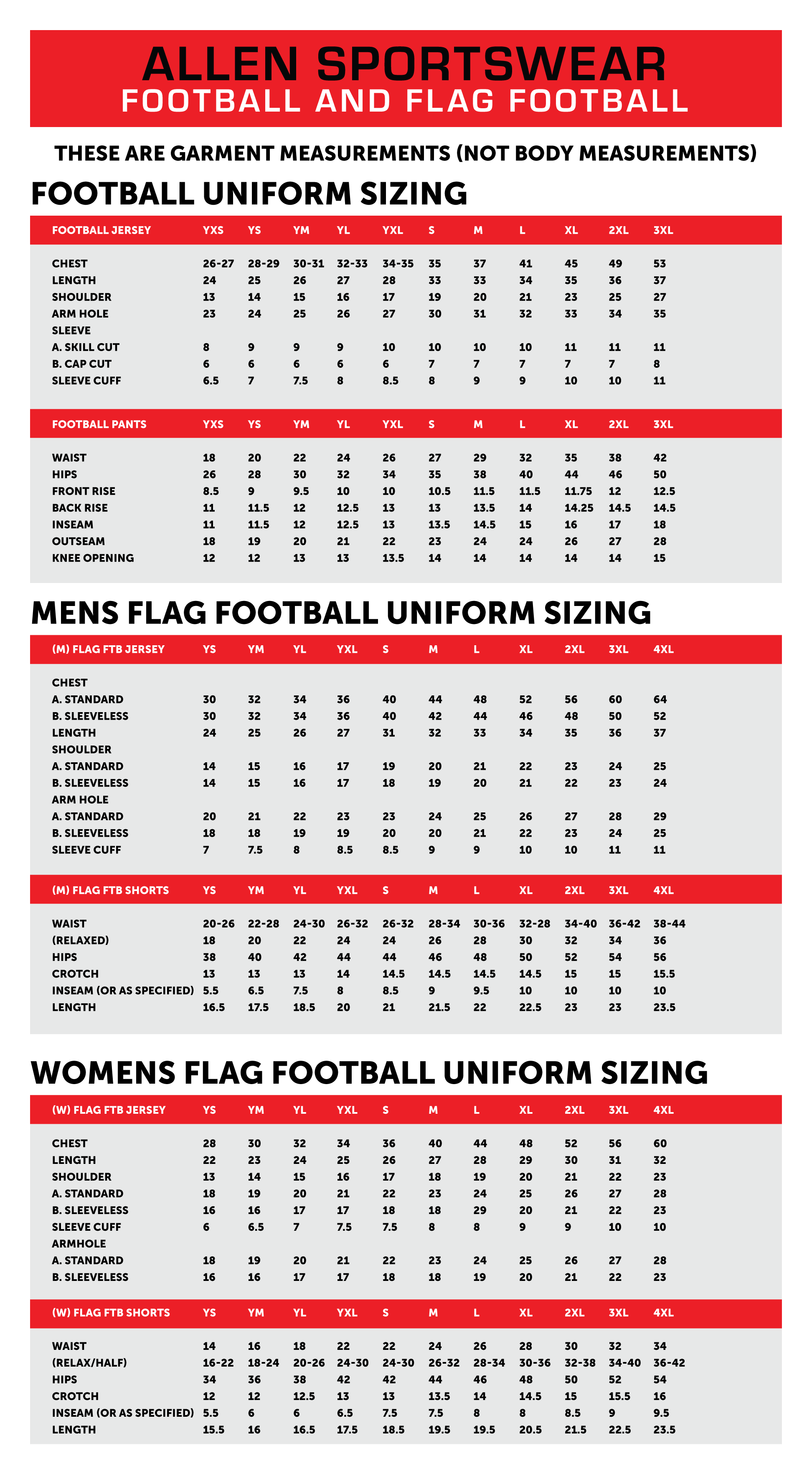 Football and flag football sizing chart allen sportswear