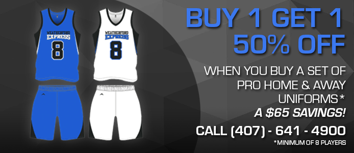 buy 1 get 1 50% off when you buy a set of pro home and away uniforms