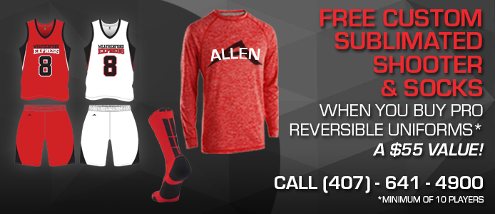 free sublimated shooter and socks when you buy pro reversible uniforms