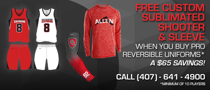 free sublimated shooter & sleeve when you buy pro reversible uniforms