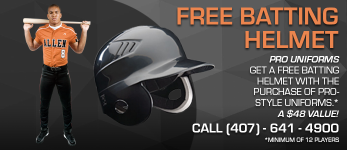 free batting helmet with the purchase of pro-style uniforms