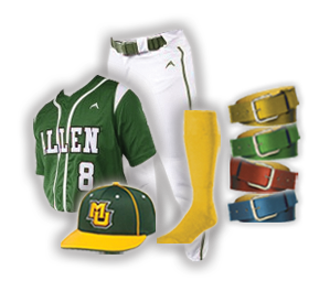 Baseball Uniforms Package, With Hat Belt and Socks