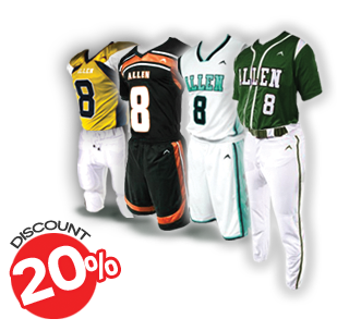 20% Discount on All Advanced Orders of Team Sports Uniform
