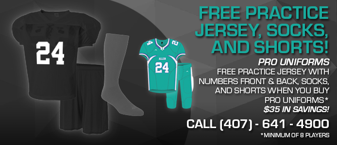 free practice jersey, socks, and shorts when you buy pro uniforms