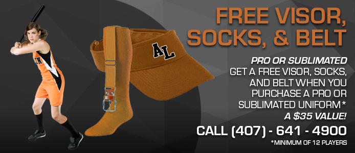 free hat, socks, and belt when you buy a pro or sublimated uniform