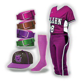 Softball Uniforms With Free Hat, Socks and Belt