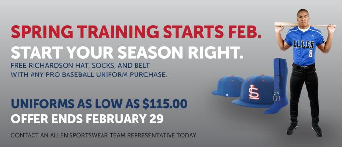 Spring training baseball uniform sale!