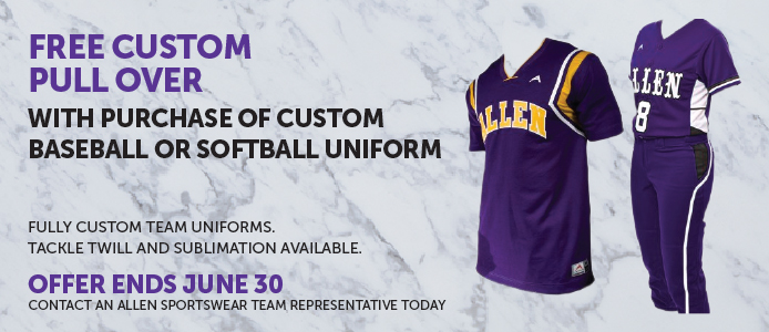Free custom pull over with purchase of custom baseball or softball uniform