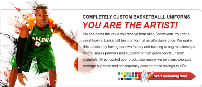 No one beats the value you receive from Allen Sportswear. You get a great looking basketball team uniform at an affordable price. We make this possible by having our own factory and building strong relasionships with business partners and suppliers of high grade sports uniform materials. Direct control over production means we take zero shorcuts, manage our costs and consequently pass on those savings to YOU.