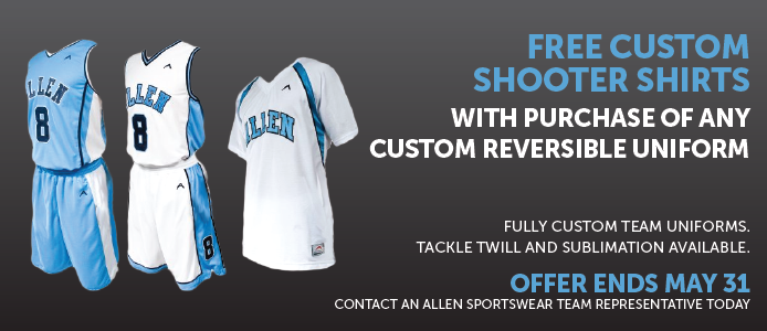 Free Custom shooter shirt with purchase of custom reversible uniforms