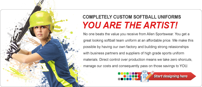No one beats the value you receive from Allen Sportswear. You get a great looking softball team uniform at an affordable price. We make this possible by having our own factory and building strong relasionships with business partners and suppliers of high grade sports uniform materials. Direct control over production means we take zero shorcuts, manage our costs and consequently pass on those savings to YOU.