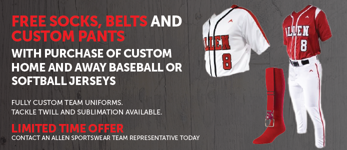 Free socks, belts and custom pants with purchase of home and away baseball or softball jerseys