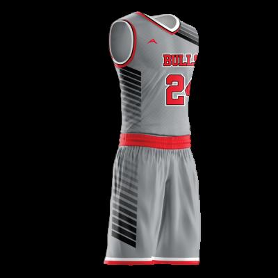 Custom basketball uniform sublimated BULLS side view