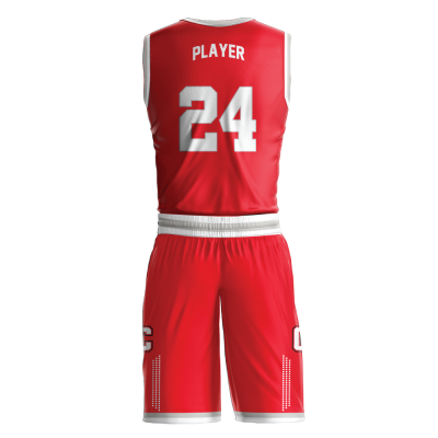 Custom basketball uniform sublimated COLLEGE back view