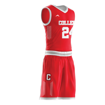 Custom basketball uniform sublimated COLLEGE side view