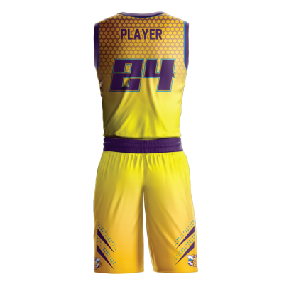 Custom basketball uniform sublimated HORNETS back view