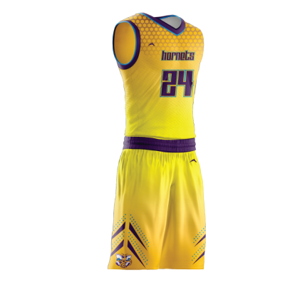 Custom basketball uniform sublimated HORNETS side view