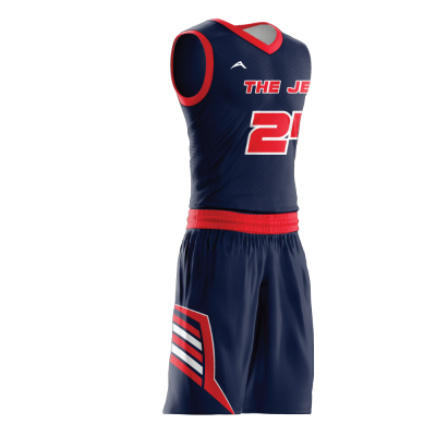 Custom basketball uniform sublimated JETS side view