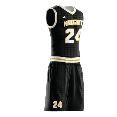 Custom basketball uniform sublimated KNIGHTS side view