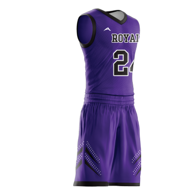 Custom basketball uniform sublimated ROYALS side view