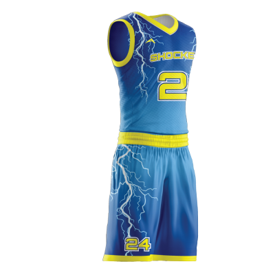Custom basketball uniform sublimated STORM side view