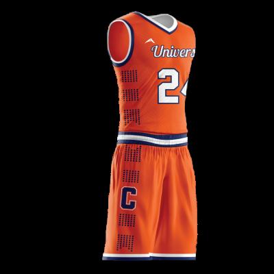 Custom basketball uniform sublimated UNIVERSITY side view