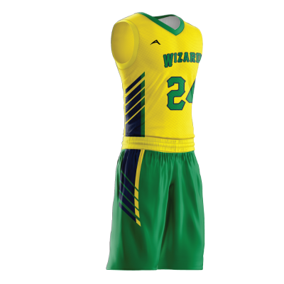 Custom basketball uniform sublimated WIZARD side view