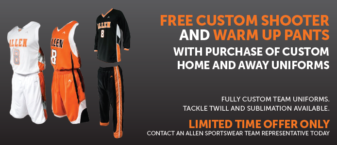 Free Custom shooter shirt and warm up pants with purchase of custom home and away uniforms