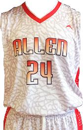 sublimated basketball uniform