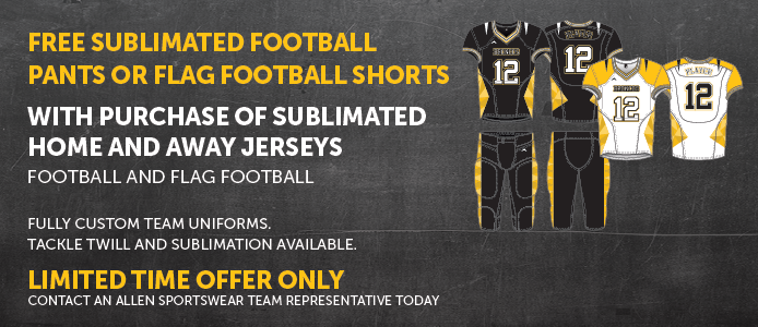 Free sublimated football pants or flag football shorts with purchase of sublimated home and away jersey purchase